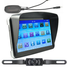 Universal 7 inch Car GPS Navigation Bluetooth AV-IN Sat Nav +Wireless Rearview Camera