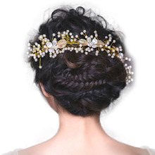 Wedding Hair Accessories Head Jewelry Golden Leaf Headdress Leaf Head Piece Pearl Rhinestone Bridal Headband(China)