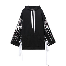 [EAM] 2018 Spring New Printing Bandage Rope Long Sleeve Thick Hooded Velvet Sweatshirt Loose Casual Tops Woman YC084(China)