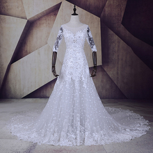 Floral Ivory Wedding Dresses Half Sleeve 2017 Vestido de noiva Fish Training Lace Bridal Dress Custom Made China Wedding Gowns(China)