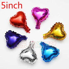"Hot 20pcs/lot 5inch heart balloon multicolour 5"" small cute heart ballon for baby birthday decoration wedding party supplies"