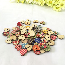 Pack of 100 PCS Heart Shaped Painted 2 Hole Wooden Buttons 18mm x15mm  7NK143