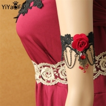 YiYaoFa Gothic Jewelry Lace Arm Accessories Women Arm Bangles Handmade Summer Fashion Girl Party Jewelry AT-48