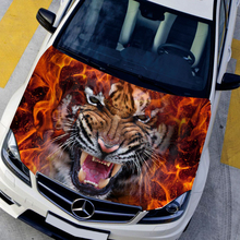 DIY Car styling HD inkjet Ferocious Burning Tigers Hood stickers car Waterproof Protective film Animal decals Paint protection