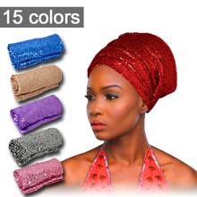 Wholesale women sequin headtie 15colors African turban gele one pieces pack lady turban african headtie hot sale african scraf(China)