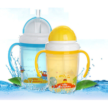 Mambobaby Durable Baby diaper Kids Straw Cup Drinking Bottle Sippy Cups With handles Cute Design Feeding Bottle PP Plastic SGS()
