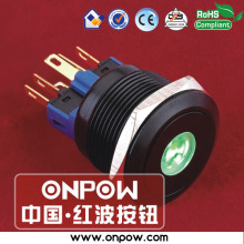 ONPOW 22mm black momentary dot illuminated pushbutton switch anti-vandal GQ22-11D/G/12V/A