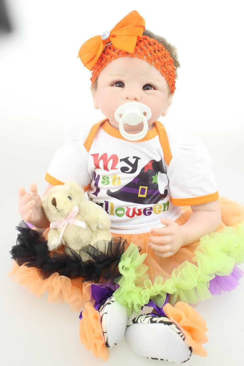 22 inch 55cm  baby reborn Silicone dolls, lifelike doll reborn babies  for girl   Childrens toys<br><br>Aliexpress