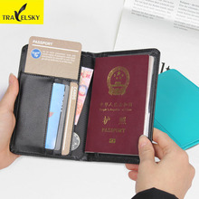 Buy Travelsky PU Leather Men Card Wallet Travel Passport Card Cover RFID Blocking Passport Credit Card Holder for $6.29 in AliExpress store