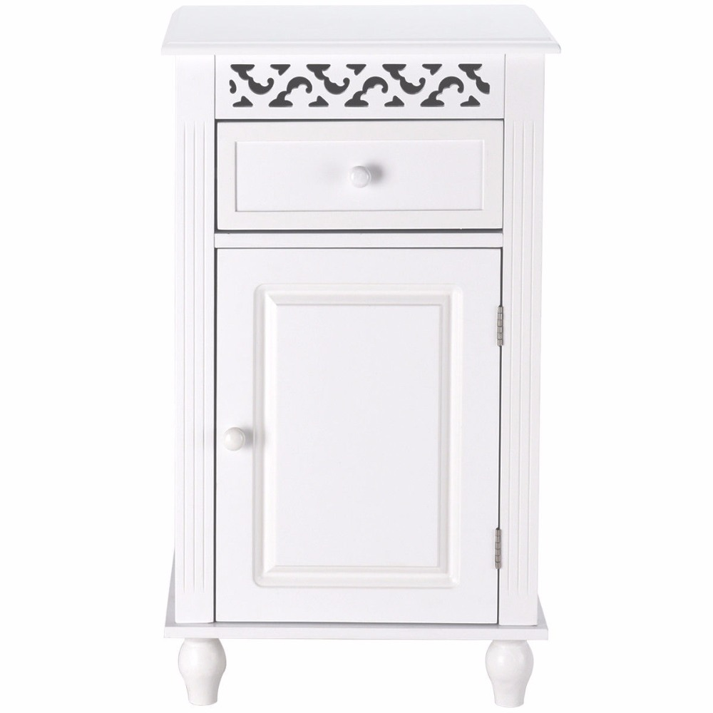 Giantex Storage Floor Cabinet Bathroom Organizer Floor Cabinet Drawer Kitchen White Modern Bathroom Furniture HW57018 7