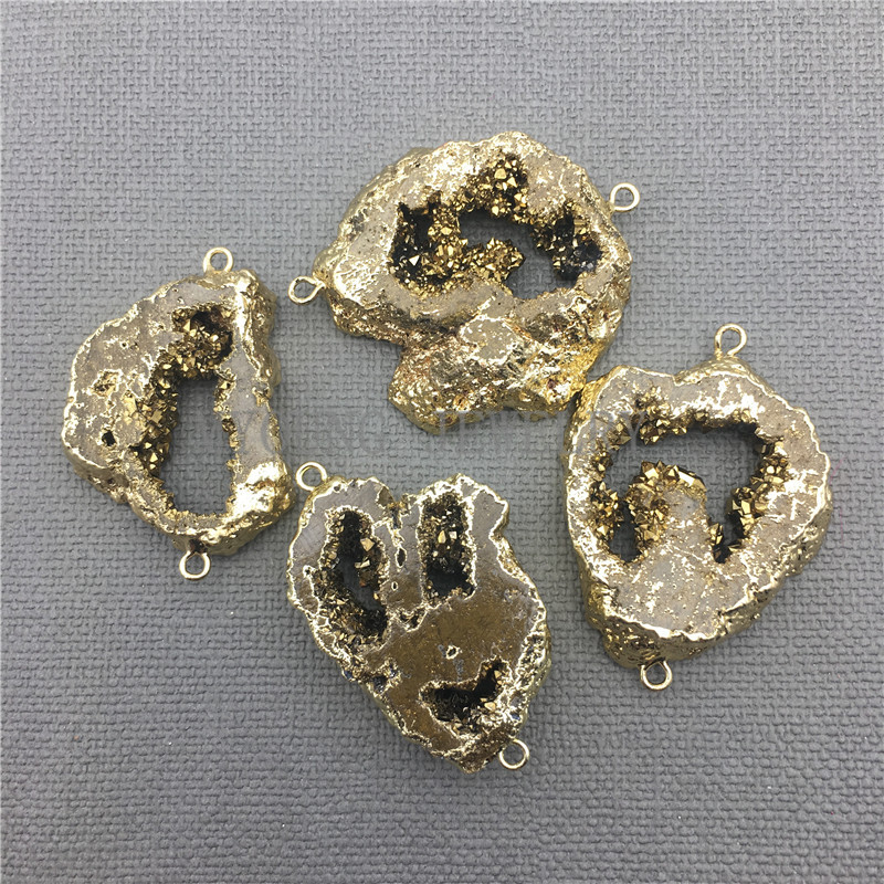 High Quality Mystical Purple Agate Slap Geode Gemstone Silver Necklace Pendants