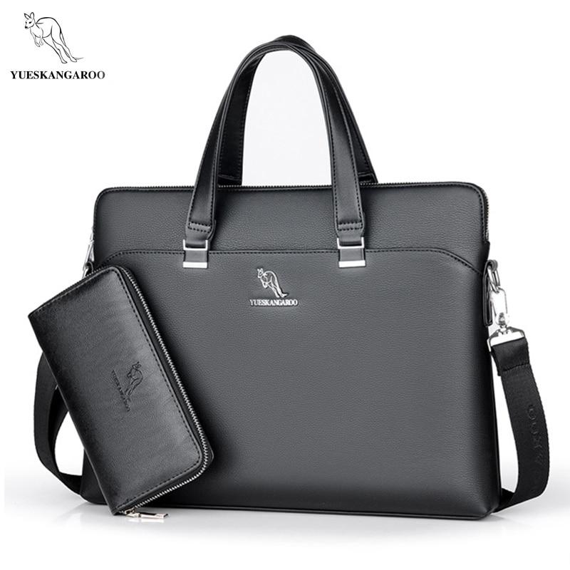 YUES KANGAROO Men Bag Brand Casual Messenger Bag Briefcase Business Leather Laptop Handbag Mens High Quality Shoulder Bag<br>