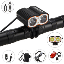 6000LM 2 in 1 Headlamp Bike Light 2x XM-L U2 LED Bicycle Lamp 3 Modes Cycling Light +16000 mAh Battery Pack Set+Rear Light(China)