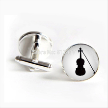 2017 wholesale Vintage Violin Cufflinks Fiddle Cuff link Shirt Cufflinks Women Music Instrument Cufflink