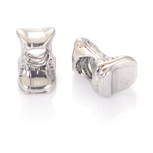 Cowboy Boot Rhodium Plated Large Hole Bead Charm Fits All Popular Brand Diy Interchangeable Charm Bracelets Jewelry Making(China)