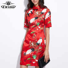 cheongsam red dress swans print vintage high quality dress 2017 summer new dresses 170407