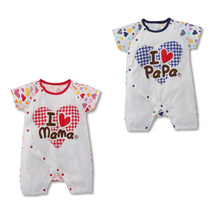 Baby Rompers Love PaPa MaMa Jumpsuits Babywear Short Sleeve Newborn Pajamas Climb Clothes
