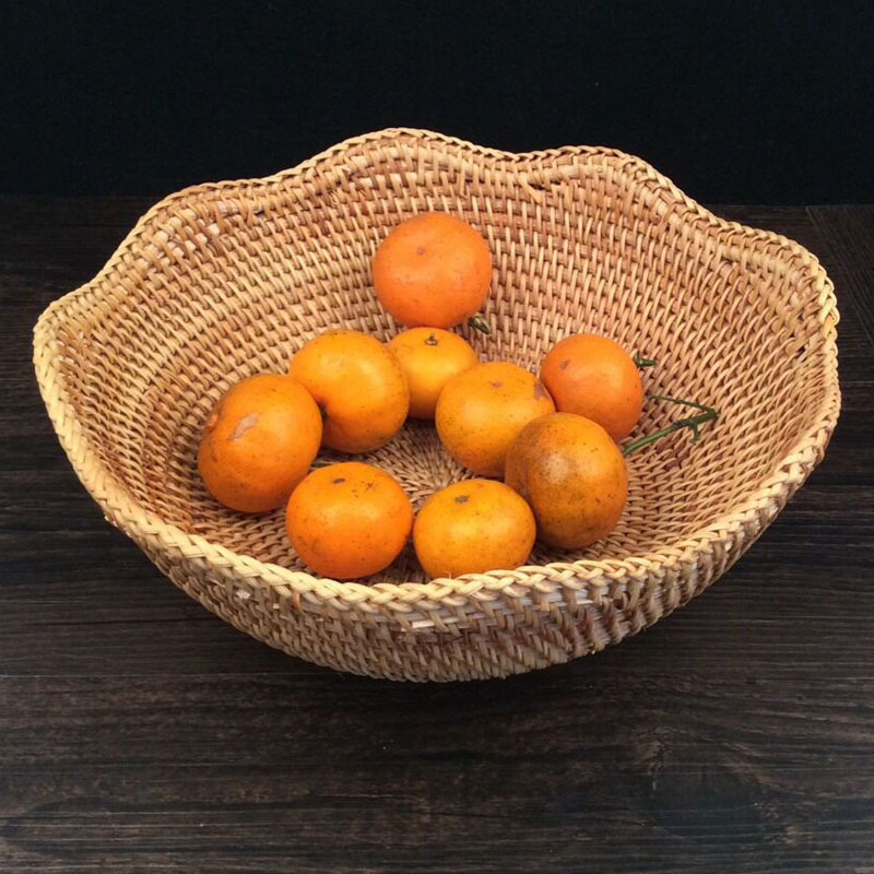 Rattan fruit basket dry fruit tray decoration display decorative fruit bowls 100% handmade candy snacks rattan basket storage(China (Mainland))