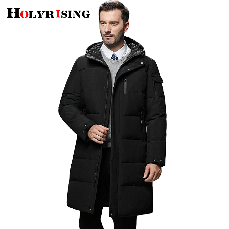 Holyrising 5XL Men Long down jacket winter Outerwear Warm Hooded Men White Duck Down Coats Hooded Thermal Windproof Coat 18564-5