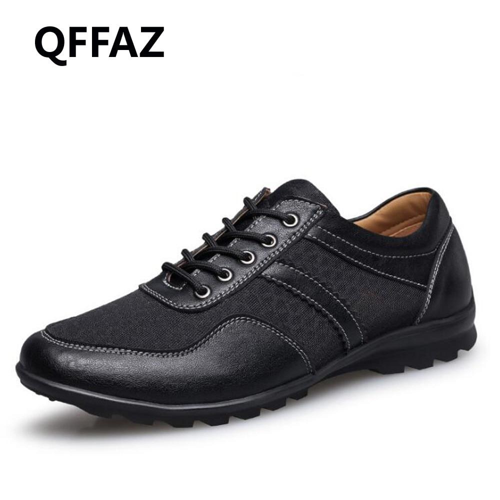 QFFAZ 2018 fashion men casual shoes new spring men flats lace up male oxfords men leather shoes hombre plus size 38-48<br>