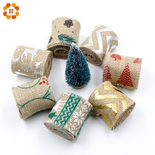 Buy 2M DIY Christmas Burlap Jute Burlap Rolls Hessian Ribbon Cartoon printing Rustic Vintage Wedding Party Decor Craft for $1.77 in AliExpress store