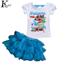 2017 MOANA Sport Suit Baby Girls Clothes Sets Summer Fashion Kids T-shirt+Tutu Skirt Tracksuit For Girls Children Clothing Sets