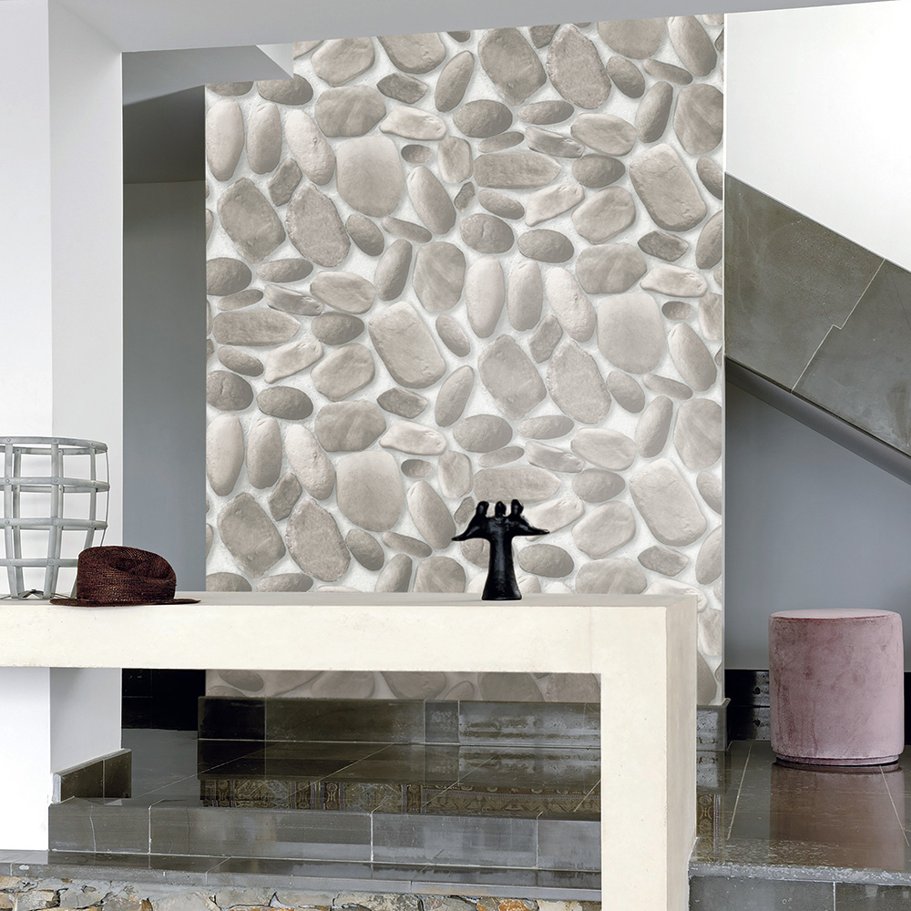 HaokHome Modern Faux Cobblestone Wallpaper Lt.Grey/Dk Gray Textured Realistic Pebble Rolls Living Bedroom Home Wall Decoration<br>