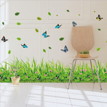 Eco-friendly Green Grass Butterfly Wall Sticker diy Nature Wind Leaves Mural Furnishings Stickers Living Room Decoration SD119