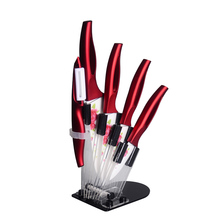 New 3, 4, 5, 6 Inch + Peeler + Knife Holder Ceramic Knife Set Red Flower White Blade + Red Handle Top Quality Kitchen Knives(China)