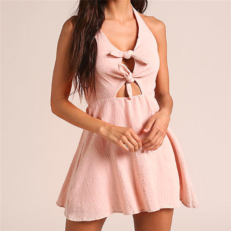 2018 Summer Dress Women Sexy Sweet Beach Bandage Bow Dress Bodycon Backless Party Dress Sleeveless Vestidos Wholesale #FY04 (7)