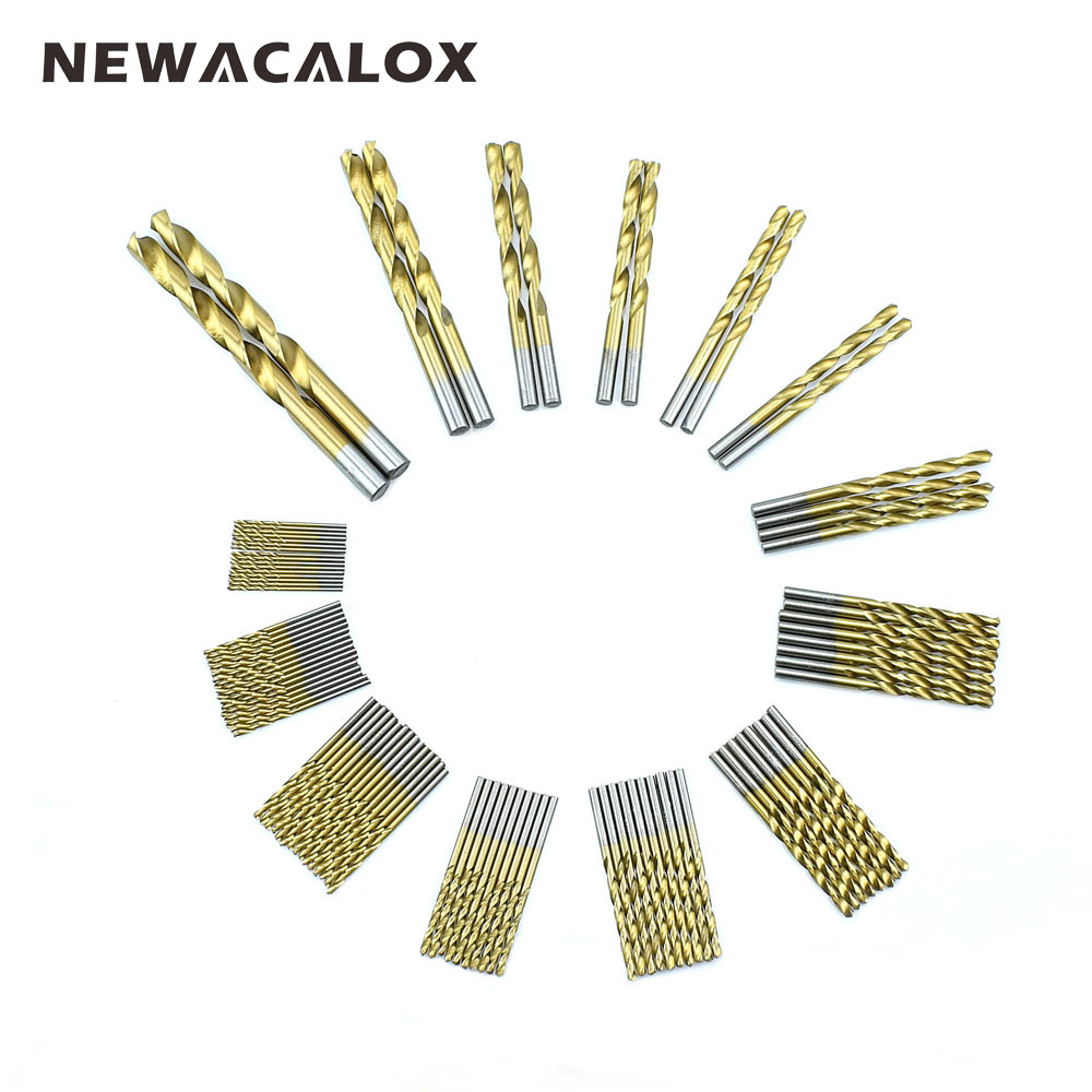 NEWACALOX HSS Drill Bit Set Tool 1.5mm-10mm Titanium Coated Stainless Steel High Speed Steel for Electrical Drill Tool 99pcs/Set<br>