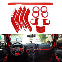12Pcs Red ABS Steering Wheel Trim Air Condition Vent Interior Accessories Door Handle Cover Kits For Jeep Wrangler JK 2011-2015