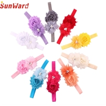girls headband SUNWARD Hair Accessories delicate hair accessories Hair Soft Mesh Flower Pearl Combination Elastic Belt W35 @