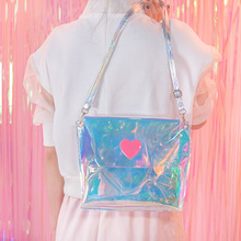 Woman Bags 2017 Silver Women Shoulder Bag Hologram Small Ladies Bags Clear Satchel Girls Summer Crossbody Bag Mini Handbag(China)