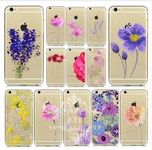 TPU Beautiful Flower Painted Mobile Phone Accessories Back Skin for iphone 4S 5S 5C SE 6S 7 PLUS Samsung S3 S4 S5 S6 S7 IPOD 4 5