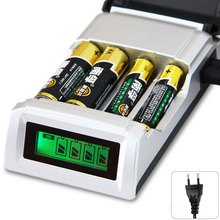 Original C905W 4 Slots LCD Display Smart Intelligent Battery Charger For AA / AAA NiCd NiMh Rechargeable Batteries - EU Plug(China)