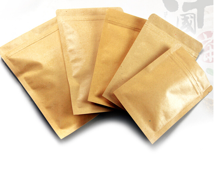 12 sizes 100pcs small/large kraft paper bag food packaging bags ,ziplock coffee sample package bags brown kraft tea bag(China)