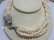 Top Quality Leopard Necklace Pearl Freshwater Pearl Necklace 6-7MM Multilayer For Women Jewelry Free Shipping