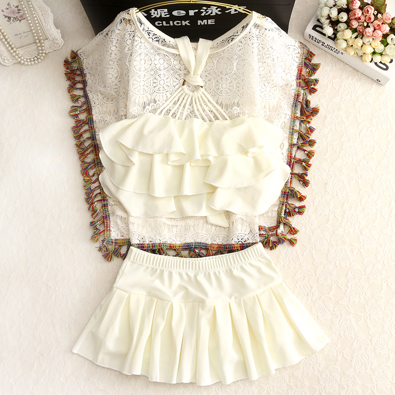 2018 New Sale Sexy Lace Bat Tassel Split Female Swimsuit Gather Three Piece Small Chest Conservative Swimwear Cover Belly Thin <br>
