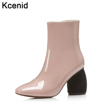 Kcenid Plus size 43 new winter ankle boots fashion round toe black strange heel women boots high heel patent leather shoes woman(China)