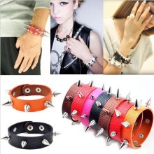Fashion Punk Gothic Rock Leather Rivet Stud Spike Bracelet Cuff Bangle Wristband Free Ship