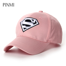 PINMI 2017 Brand Superman Baseball Cap Women Pink White Fashion Lady Snapback Caps Diamond Outdoor Casual Sun Hat For Women Bone(China)