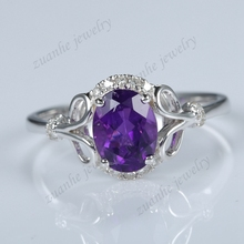 Solid 14k White Gold Natural Diamonds Purple Amethyst Elegant Engagement Ring