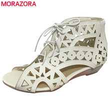 MORAZORA SIZE 31-43 New 2017 fashion cut outs gladiator sandals women sexy summer wedges low heels Bohemian beach shoes woman(China)