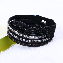Newest Unisex Multilayer Leather Bracelet Christmas Gift Charm Wrap Bracelets Vintage Jewelry For Women Crystal Pulsera(China)