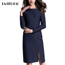 LA-TEE-DA!Spring Summer Autumn 2017 Women Lady New Fashion Elegant Striped Sashes Front Slit Dating Dinner Party Dresses