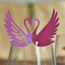 120pcs DIY Place Card Purple Laser Cut Swan Wedding Invitation Wine Glass Cup Paper Cards Name Card Wedding Party Decorations