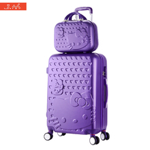 J.M Rolling Luggage Trolly Travel Suitcase HelloKitty Girl ABS Luggage Sets on Wheels Cute Cabin Baggage Valises Avec Roulettes