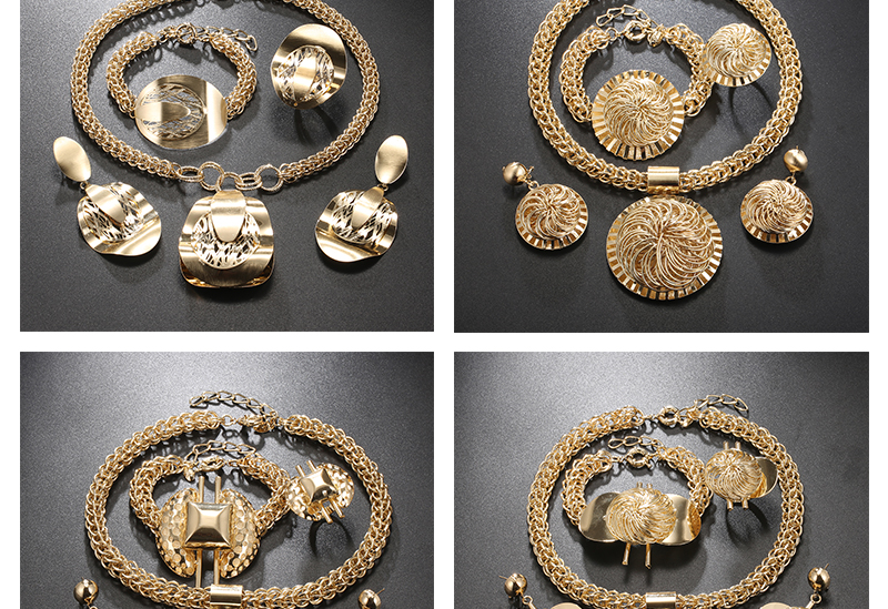 CWEEL Jewelry Sets Fashion Bridal Turkish Jewelry Vintage Antique Big African Jewellery Gold Color Women Indian Jewelry Set (5)