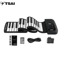 TSAI Roll Up Piano 61 Key Flexible Silicon Preliminary Electronic Training TSAI Tool Professional Musical Instrument Popular(China)